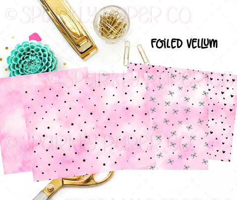 Pink Water Color Foiled Vellum