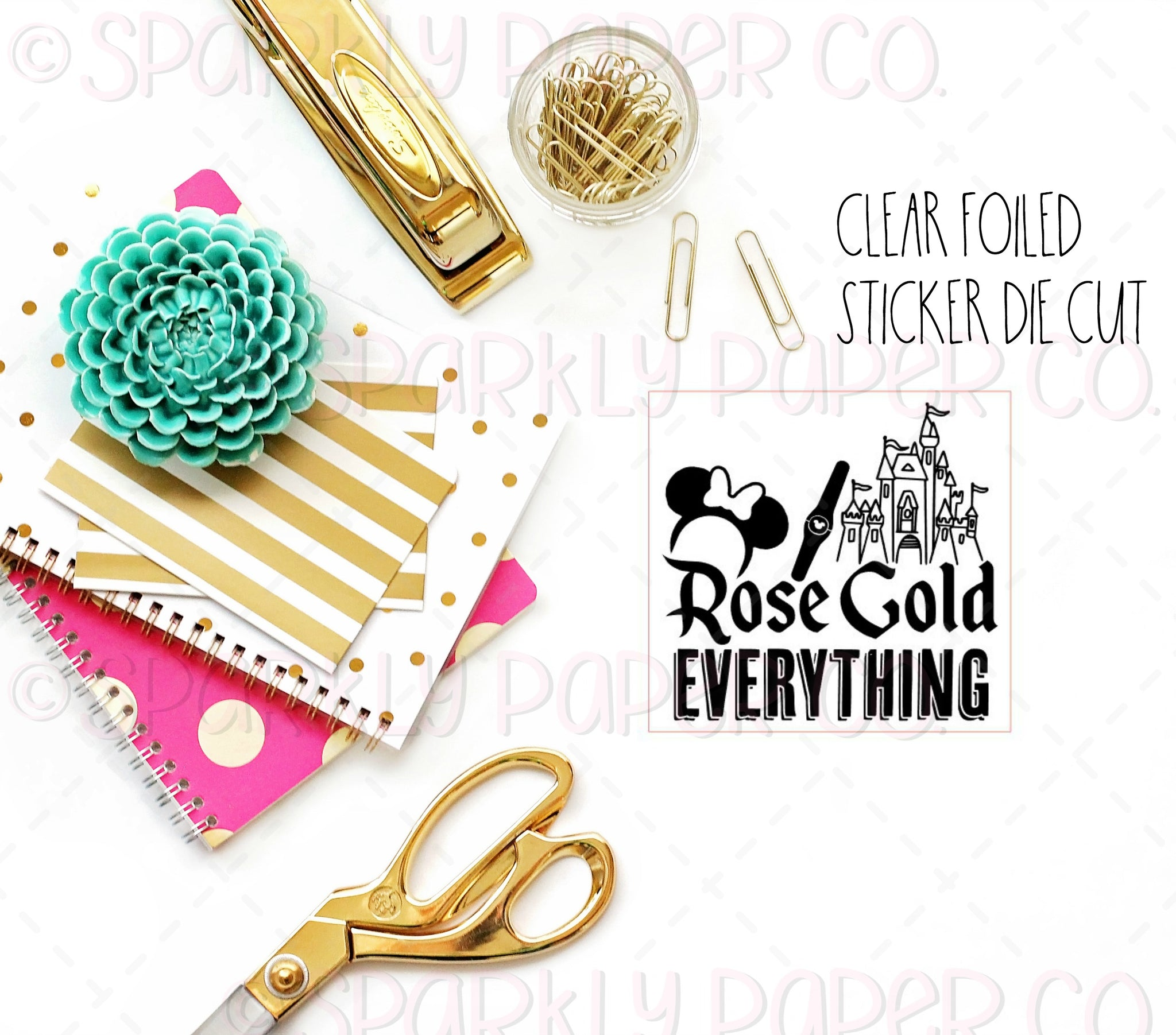 Rose Gold Everything Clear Sticker Foiled Die Cut