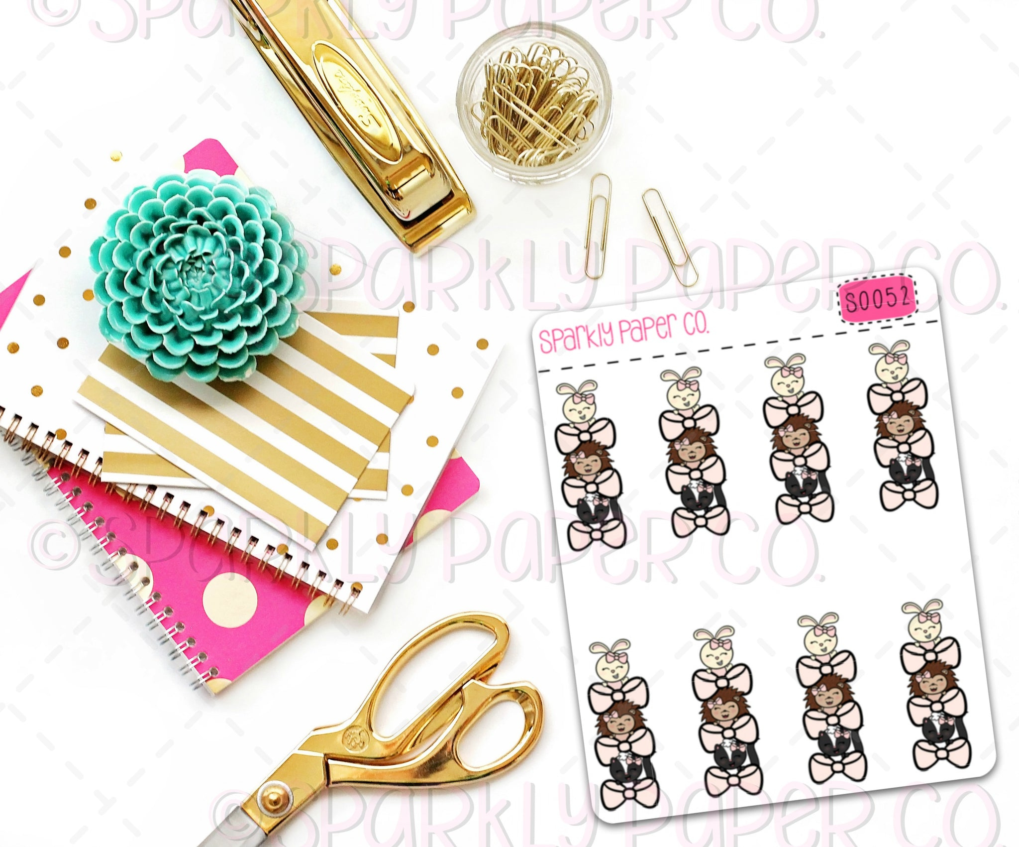 Stacked Bow Critters Planner Stickers (matte removable) S0052
