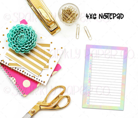 Tie Dye Star List 4x6 Notepad