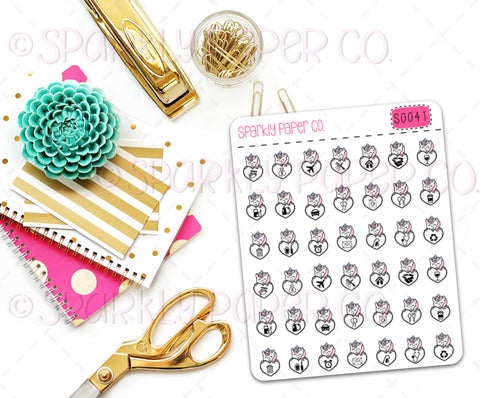 Unicorn Icons Planner Stickers (matte removable) S0041