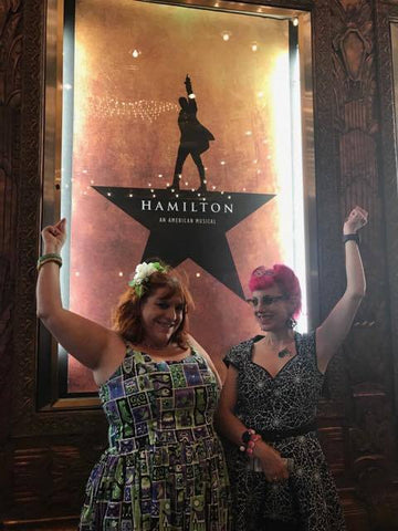Amanda and I posing in front of the Hamilton Poster before we entered the theatre.
