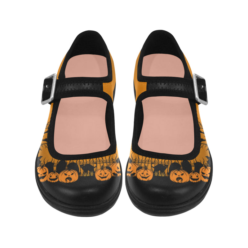 Trick Or Treat in the Graveyard Orange Mary Jane Shoes