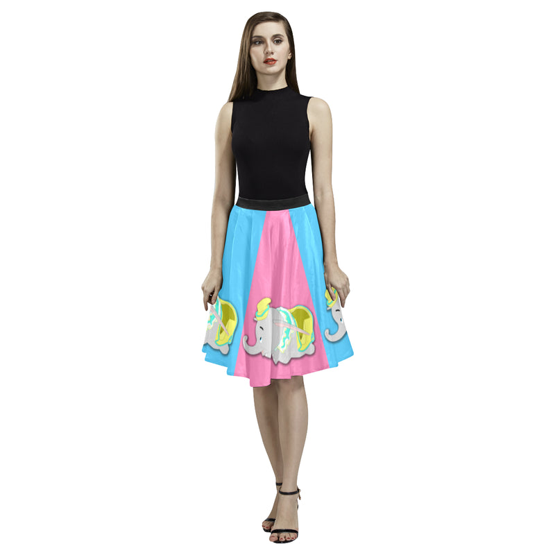 Flying Elephant Pleated Midi Flirty Skirt