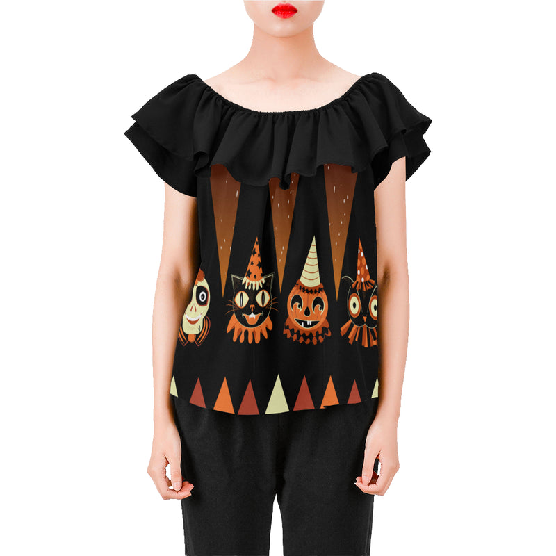 Halloween Party Animal Ruffle Blouse