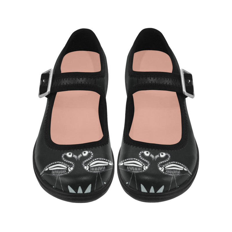 Skeley Flamingo Mary Jane Shoes