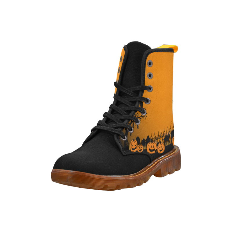 Trick or Treat in the Graveyard Boots Orange Martin Boots For Women Model 1203H