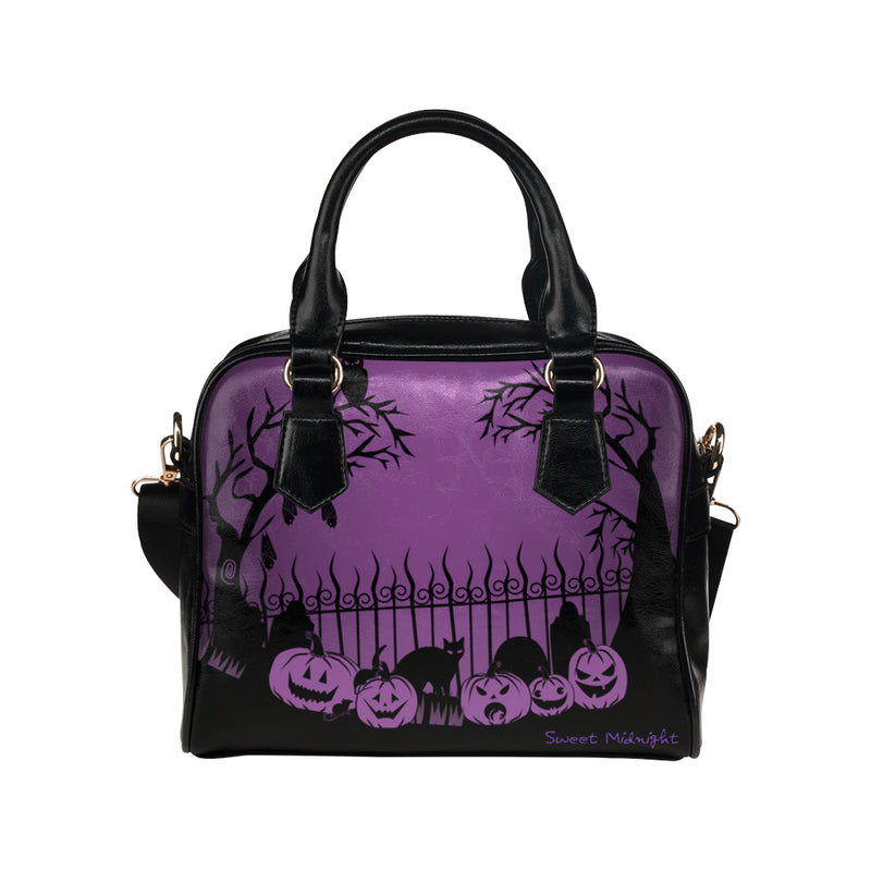Trick or Treat in the Graveyard Purple Bag Shoulder Handbag (Model 1634)