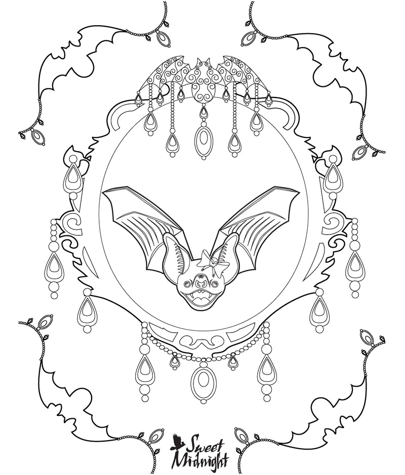 Sweet Midnight Coloring Page Bat