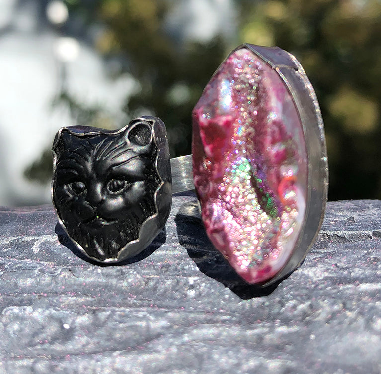 Sterling Silver Black Cat and Druzy Ring