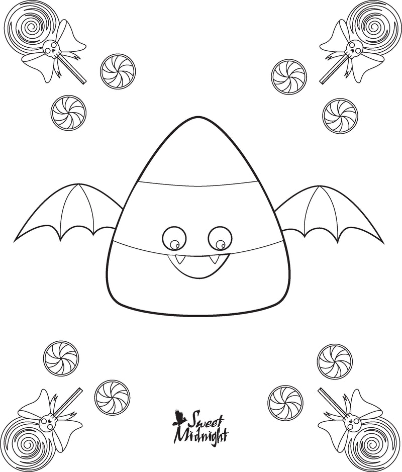 Sweet Midnight Coloring Page Candy Corn