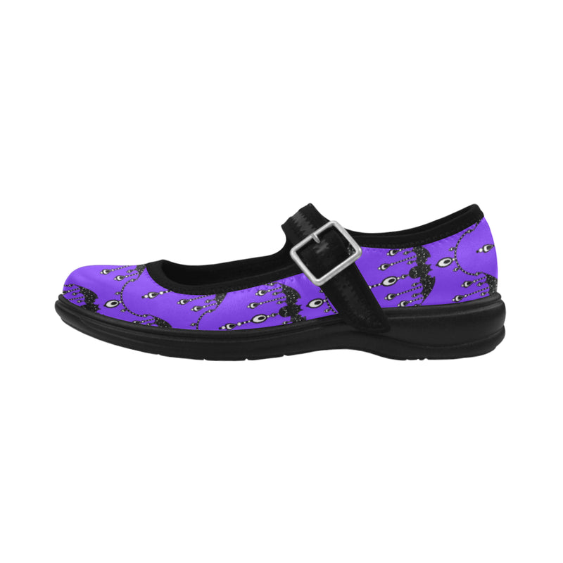 Filigree Bat Mary Jane Shoes Purple