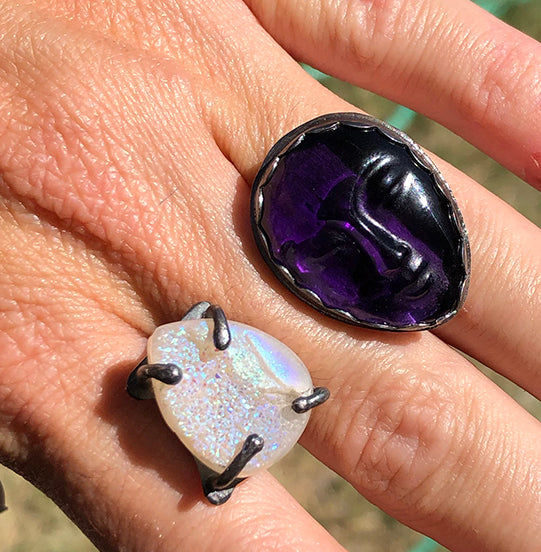 Sterling Silver Amethyst and Druzy Ring