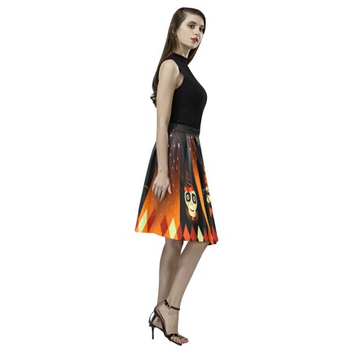 Halloween Party Animals Pleated Midi Skirt