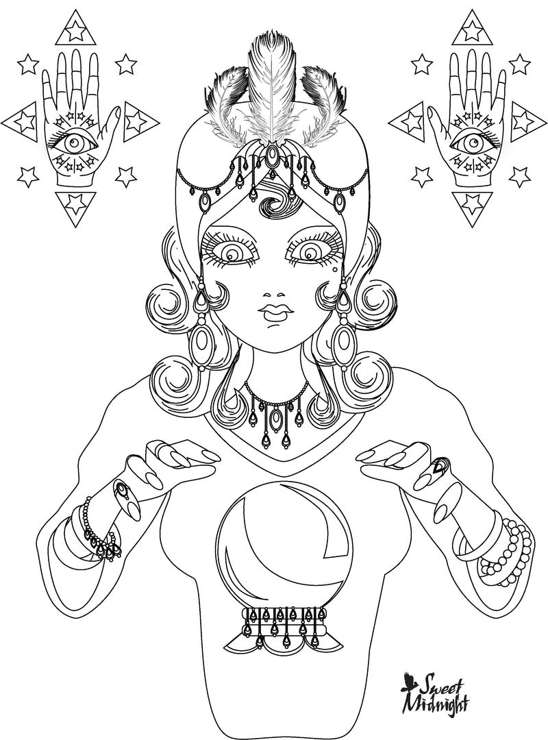 Sweet Midnight Coloring Page Fortune Teller