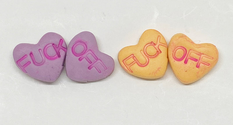 Fuck Off Conversation Heart Earrings