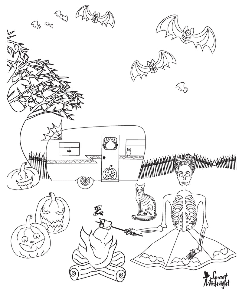 Sweet Midnight Coloring Page Glamping in the Graveyard