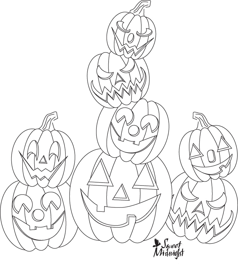 Sweet Midnight Coloring Page Pile of Jack O Lanterns