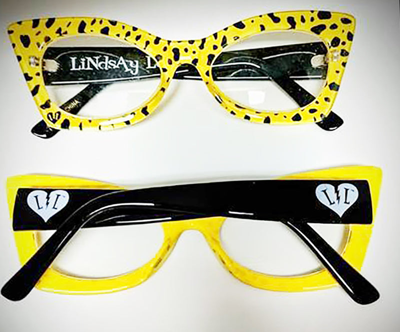 Lindsay Lowe Yellow Spotted Glasses