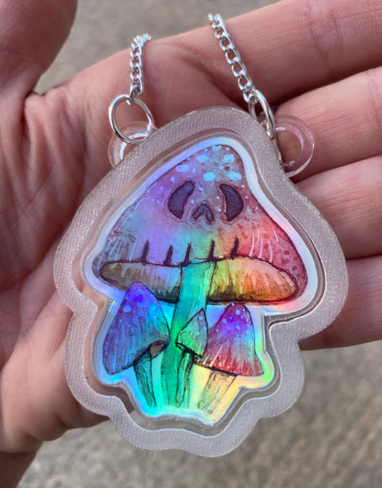 Monstrous Mushroom Holographic Necklace