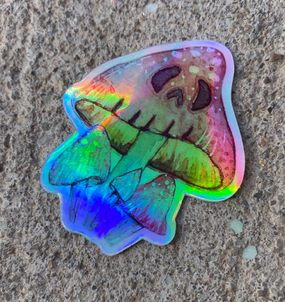 Monstrous Mushroom Holographic Sticker
