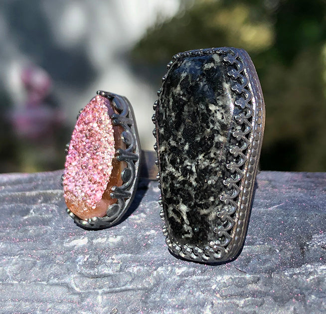 Sterling Silver Natural Black Tourmaline Coffin and Druzy Ring