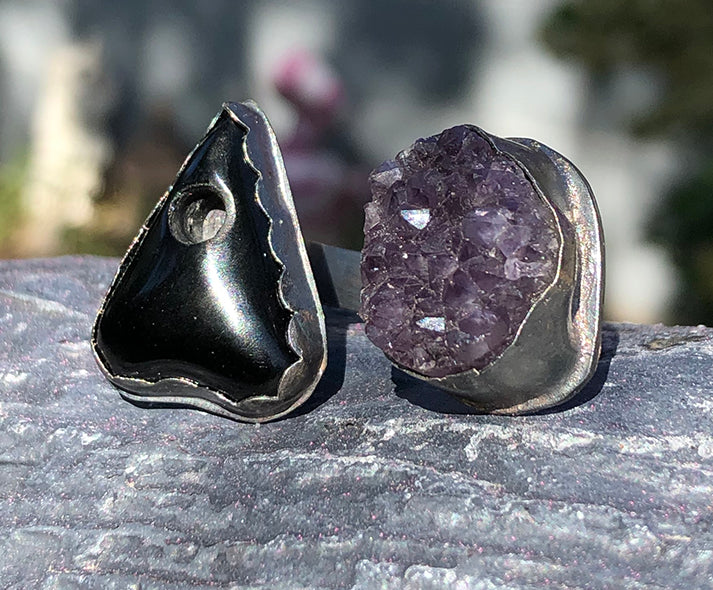 Sterling Silver Black Obsidian Planchette and Amethyst Druzy Ring