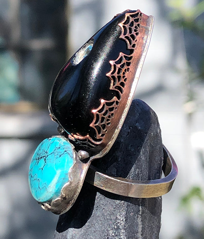 Sterling Silver Turquoise and Black Obsidian Planchette Ring