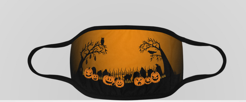 Trick or Treat in the Graveyard ORANGE Face Mask Face Mask