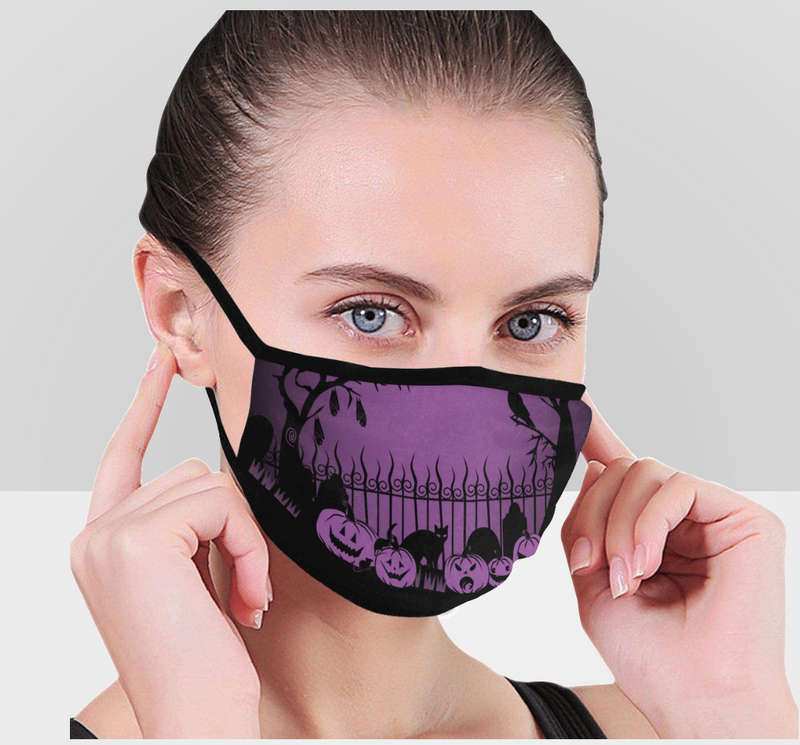 Trick or Treat in the Graveyard PURPLE Face Mask Face Mask