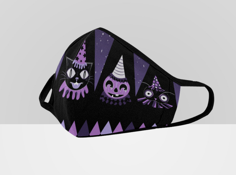 Purple Halloween Party Animals Face Mask