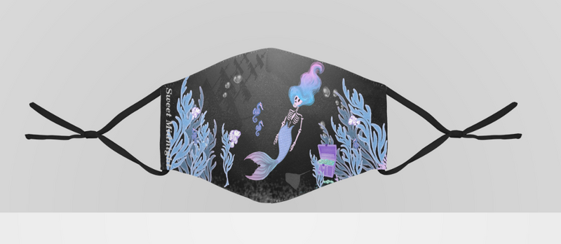 Six Feet Under the Sea Face Mask With Adjustable Ear Strap
