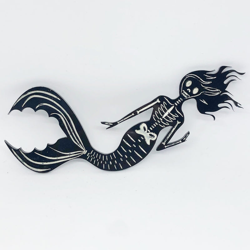 Skeleton Mermaid Necklace / Brooch