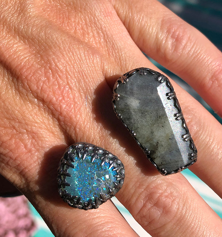 Sterling Silver Labradorite and Druzy Ring