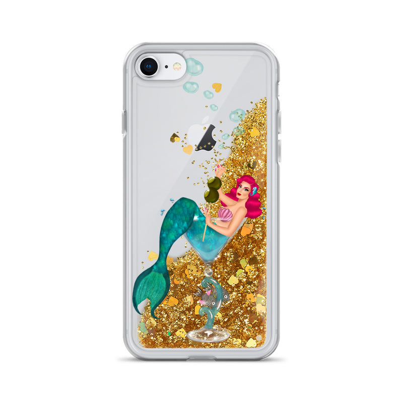 Mermaid Martini Liquid Glitter iPhone Case