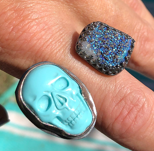 Sterling Silver Turquoise Skull and Druzy Ring
