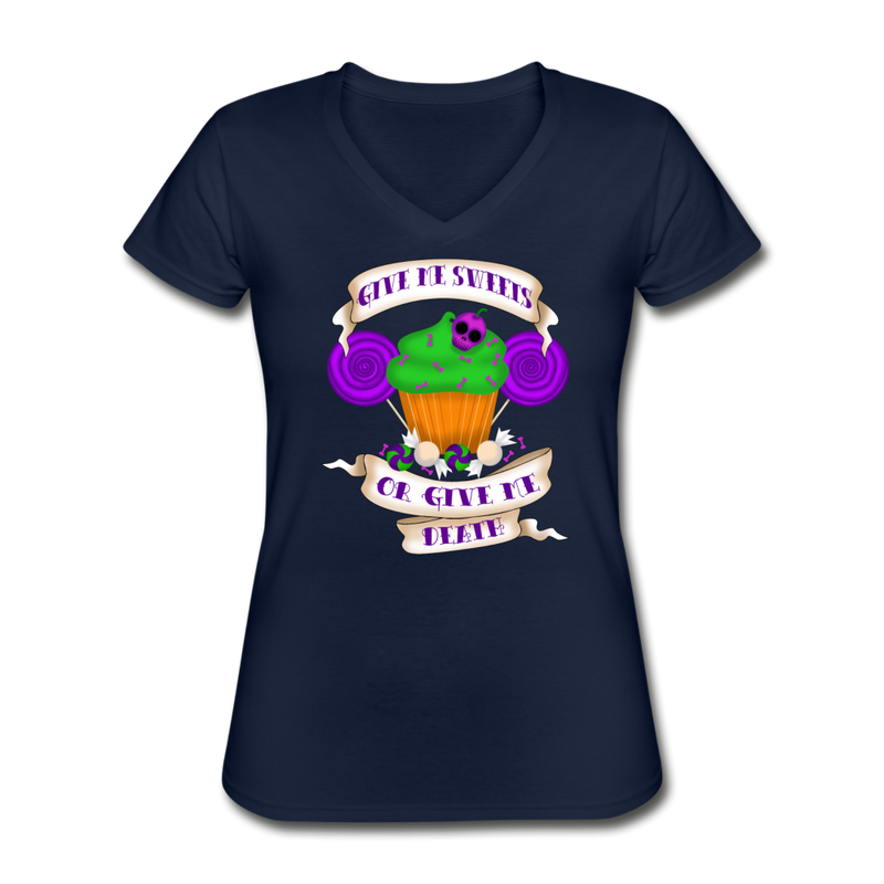 Give Me Sweets or Give Me Death Women's V-Neck T-Shirt - navy