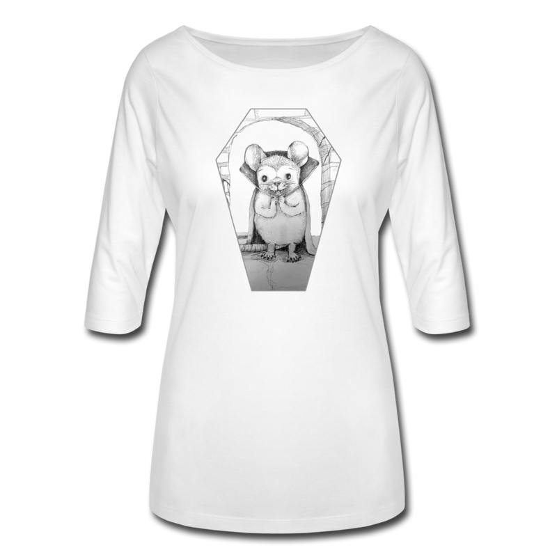 Vampire Mouse Women's 3/4 Sleeve Shirt - white