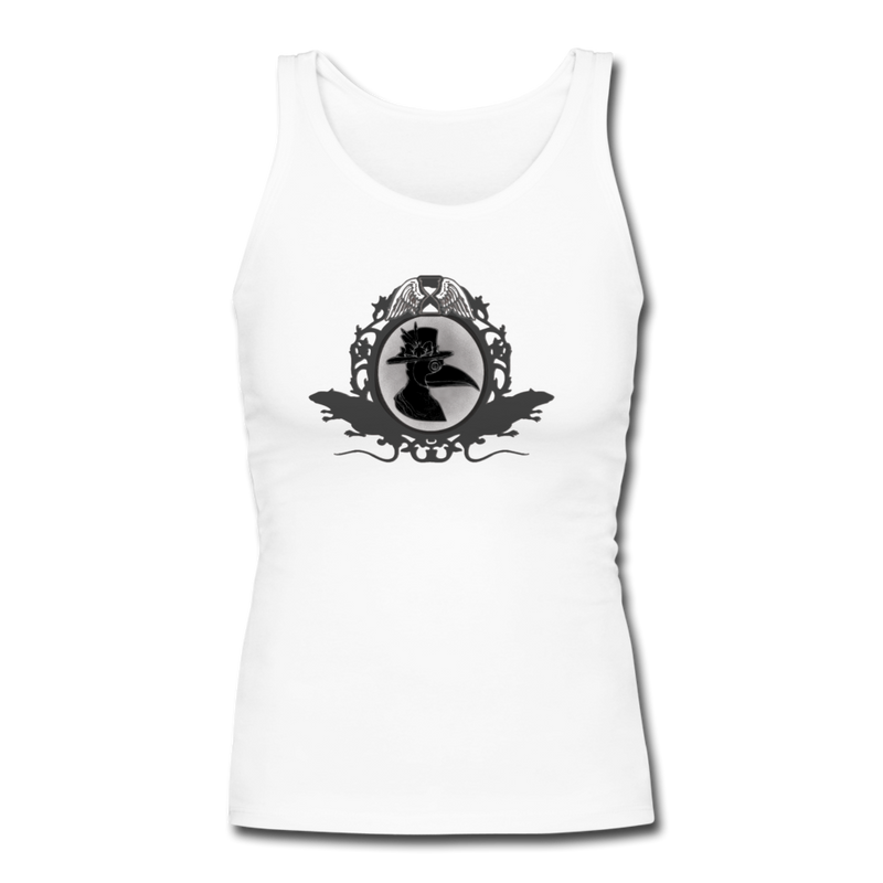 Plague Doctor Women's Longer Length Fitted Tank - white