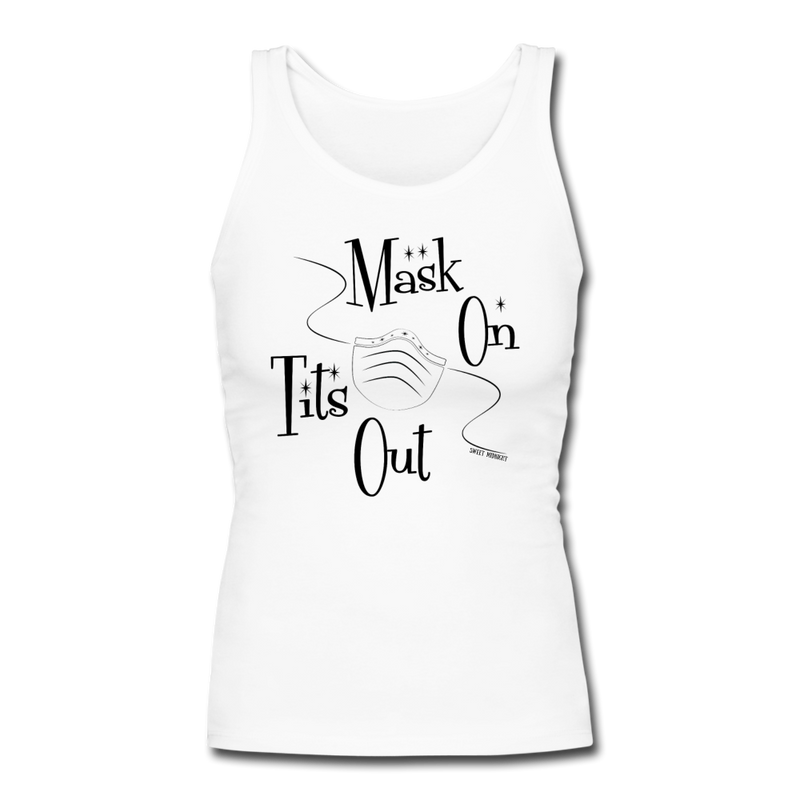 Mask On Tits Out Women's Longer Length Fitted Tank - white
