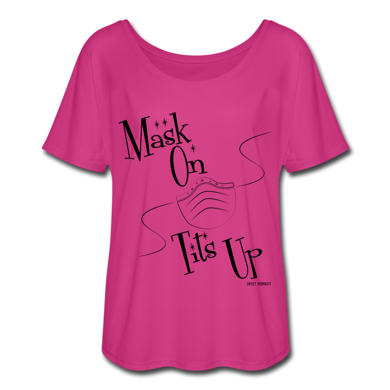 Mask On Tits Up Women's Flowy T-Shirt - dark pink