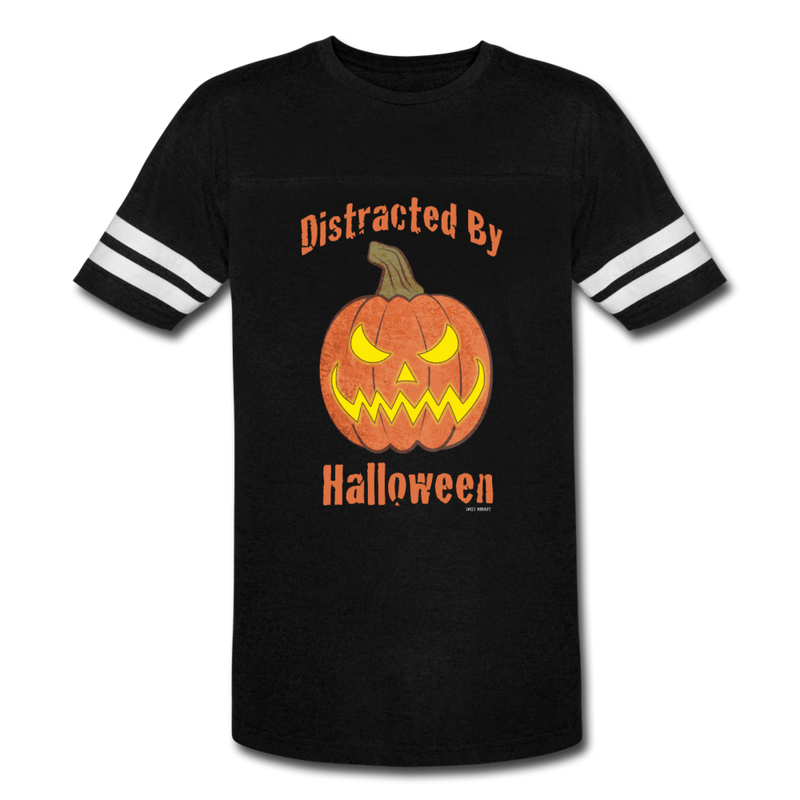 Distracted by Halloween Vintage Sport T-Shirt - black/white