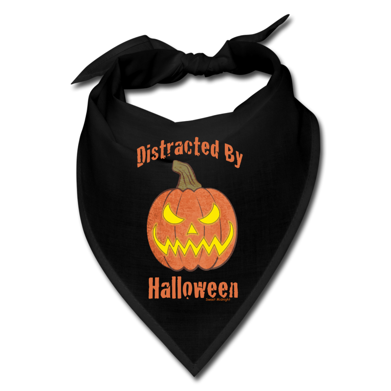 Distracted by Halloween Bandana - black