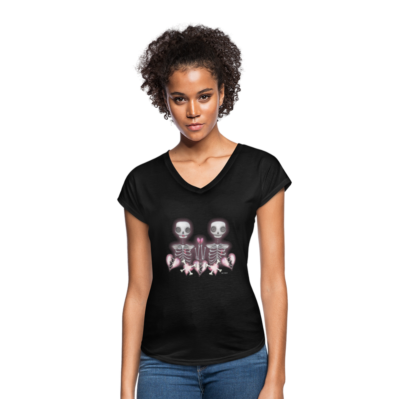 Women's Tri-Blend V-Neck T-Shirt - black