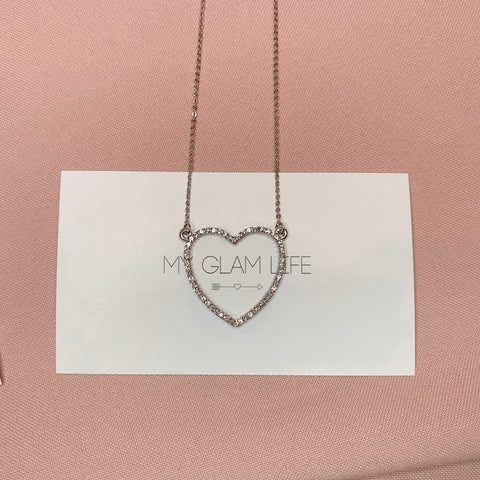 Mia Heart Necklace - Silver