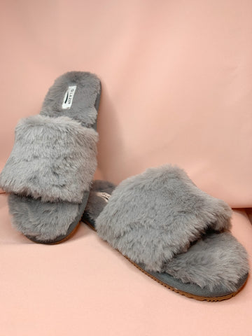 Aaliyah Furry Slipper - Grey