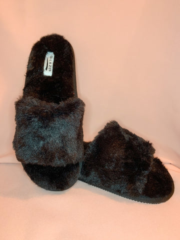 Aaliyah Furry Slipper - Black