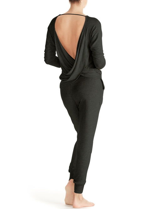 Ava Twist Back Top - Charcoal Grey - Back