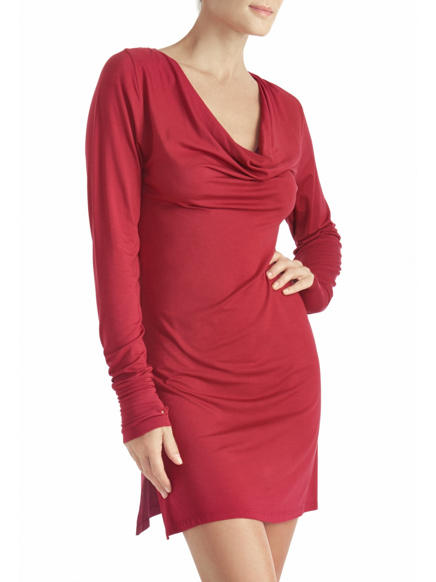 Naked Princess Long Sleeve Cowl Dress Cranberry
