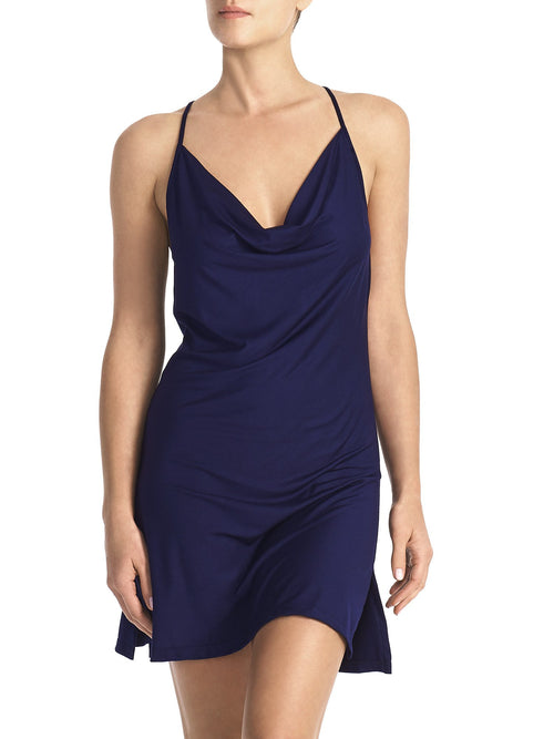 cowl mini dress - navy